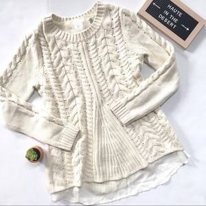 CAbi #3157 Cream Lace Up Cable Knit Sweater Sz S